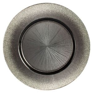 Set/12 RITZ Taupe Glass Charger Plates