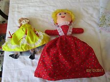 PRIMITIVE OLD BLACK WHITE TOPSY TURVY CLOTH DOLL EMBROIDERD FACES 2 DOLLS IN ONE