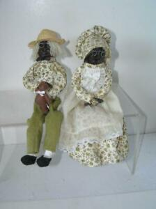 Margaret Owens Apple Head Dolls Doll Black Cpl Georgia Primitive Folk ART PAIR