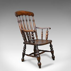 Antique Elbow Chair, English, Victorian, Stick Back Windsor, Elm, Circa 1880