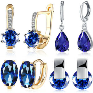 Gorgeous Oval Blue Sapphire Leverback Stud Earrings Silver Wedding Jewelry