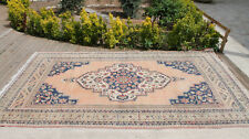 Turkey Rug 6'8''x11'2'' Vintage Unique Floral Oushak Soft Color Oriental Rug