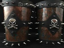 Skull and Crossbones Spiked Leather Arm Bracer Gauntlets by Steampunkd Studio