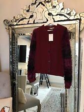 DAGMAR Burgundy Chunky Knit Cardigan/Jacket with fluffy Burgundy ombré sleeves M