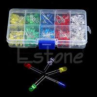 200Pcs 3mm 5mm LED Light White Yellow Red Blue Green Assortment Diodes Kit 1 set