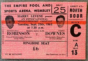 SUGAR RAY ROBINSON-TERRY DOWNES ORIGINAL ON SITE STUBLESS TICKET (1962)