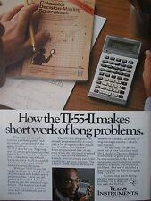 7/1982 PUB TEXAS INSTRUMENTS ELECTRONICS TI-55-II CALCULATOR CALCULATRICE AD