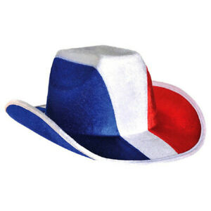 RED WHITE AND BLUE PATRIOTIC VELOUR COWBOY HAT
