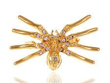 Gold Tone Topaz Czech Crystal Rhinestone Halloween Scary Spider Leg Pin Brooch