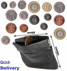 Coin money bag purse wallet pouch soft leather with closure men ladies UK sprgCn
