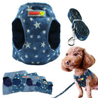 Soft Denim Dog Vest Harness and Leash set Pet Puppy Cat Jean Clothes S M L XL