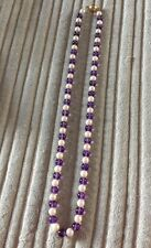 "Amethyst & Freshwater 6mm Pearl 18"" Necklace With 9ct Gold Snap  - NEW"
