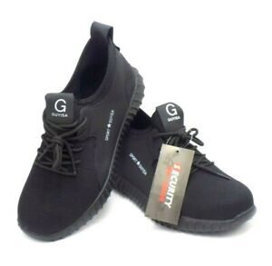 Mens Breathable Mesh Sneaker Woker Safty Shoes Steel Toe Anti-smash Knited Shoes