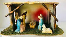 Old Vintage Nativity Creche Christmas Stable Jesus Mary Joseph Kings Lamb Manger