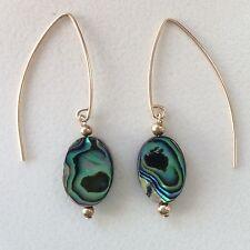 14K Gold-filled or Sterling Silver Abalone Shell Open Hoop Ear Hooks
