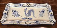 "RCCL Hand Painted ROOSTER Serving Platter Portugal Blue White 1.5X15X8"" MINT"