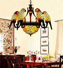 Makernier Vintage Tiffany Stained Glass 6 Arms Parrots Rose Pendant Chandelier