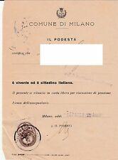 Antica marca amministrativa del Ventennio su documento di Milano - 3/4/1939