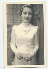 BP279 Carte Photo vintage card RPPC Femme mode fashion croix religion
