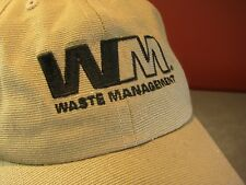 WASTE MANAGEMENT WM Logo Trucker Hat Baseball Cap Tan Unique Material CurvedBill