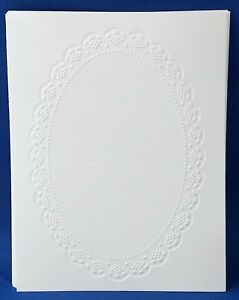 10 OBLONG DOILY White Embossed A2 Card Fronts Recollections Cardstock Paper