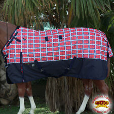 "76"" Hilason 1200D Waterproof Turnout Winter Horse Blanket Red Plaid Black U-2-76"