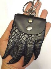 GENUINE CROCODILE COIN BAGS BIG FOOT CLAW SKIN LEATHER MEN'S BLACK KEY CHAINS