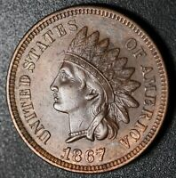 1867 INDIAN HEAD CENT - Near AU UNC - With BOLD REPUNCHED DATE *SNOW-4* RPD
