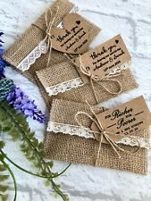 Lottery Ticket Holder Scratch Card Holder Hessian Wedding Favour Envelope & Tags