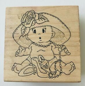 Baby in Mommy's Hat Shoes Beads Rubber Stamp Art Impressions H-940 1996