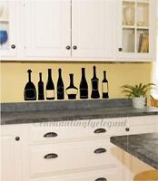 Wine Bottles Kitchen Decor Vinyl Decal Wall Sticker