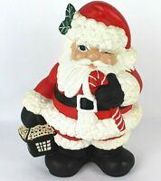 "Vintage 13"" Tall Ceramic Winking Santa Claus with Lantern Holly Christmas Mold"