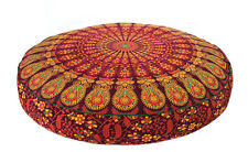 """35x35x6"""" Mandala Red Round Cushion Cover Floor Decorative Pillow Covers Indian"""