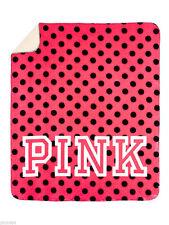 Victoria's Secret PINK Soft Sherpa Blanket Throw - Neon Hot Pink/Polka Dot