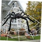 Halloween Giant Spider Webs Decoration, Large Outdoor Yard Decor Scary Black