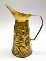 Vintage Embossed Brass Water Jug Ewer Fireplace Collectable <D5