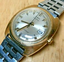 Vintage Timex Electric Men Gold Tone Dynabeat Analog Watch Hour~Date~New Battery