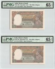 India Nd (1943) P-18b Pmg Gem Unc 65 Epq 5 Rupees *Consecutive Pair*