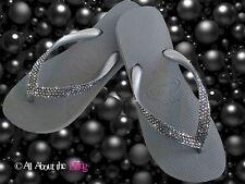 Crystal flip flops Havaianas or Wedge Silver with SWAROVSKI 4 rows Black Diamond