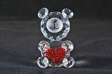 Crystal Bear with red heart- Birthday, Love, Valentine, New baby, Thank you gift