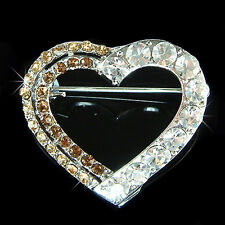 w Swarovski Crystal Brown Love HEART Valentine Bridal Wedding Pin Brooch Jewelry