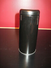 "New Black Metal Cylindrical Tea Storage Tin/Container 6"" Tall x 2 1/2 "" Wide"