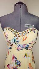 BNWT Maya Butterfly Print Jewel Trim Yellow/Cream/Multi Maxi Dress Sz M/12