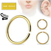 14K SOLID GOLD BEND HOOP RING EAR NOSE LIP CARTILAGE HELIX BODY PIERCING JEWELRY