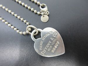 Auth Tiffany & Co. Return To Heart Tag Ball Chain Necklace Silver 925 Good 95363