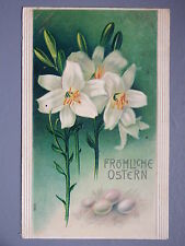 R&L Postcard: Beautiful, Easter Greetings Flowers, Embossed, Frohliche Ostern