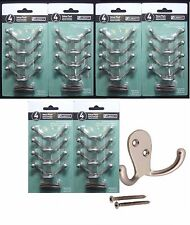 24 Liberty Double Prong Robe Hook Matte Nickel (4 Hooks /Pack, Total 6 Packs)