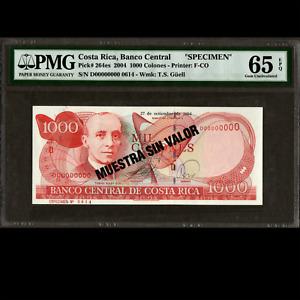 Banco Central Costa Rica 1000 Colones SPECIMEN 2004 PMG 65 GEM UNC EPQ P-264es