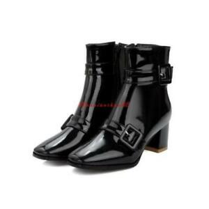 Womens shiny Patent Leather Buckle Strap Block heel Shoes Square Toe Ankle Boots