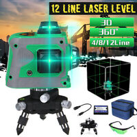 12 Line 360° 3D Self Leveling Laser Level 3D Green Outdoor Cross Measure Tool
